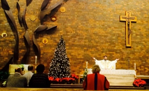Fr. Chris presides at daily Mass on the feast of St. John for our parish family.