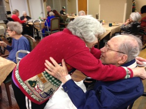 My aunt greets her beloved at the rehab facility...